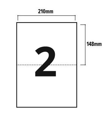 2 Per Sheet A4 Labels - Square Corners  - 2