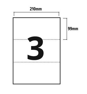 3 Per Sheet A4 Labels - Square Corners - 3