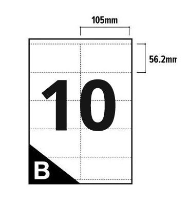 10 Per Sheet A4 Printer Labels - Square Corners - 2