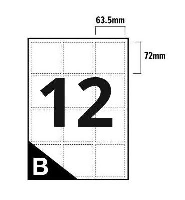 12 Per Sheet A4 Printer Labels - Square Corners - 3