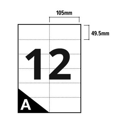 12 Per Sheet A4 Labels - Square Corners  - 3