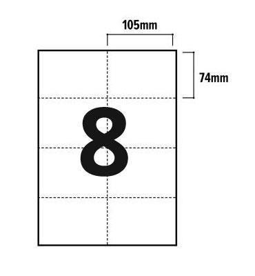 8 Per Sheet A4 Labels - Square Corners - 3