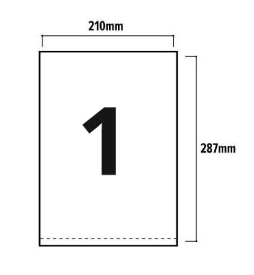 1 Per Sheet A4 Labels - Square Corners  - 3