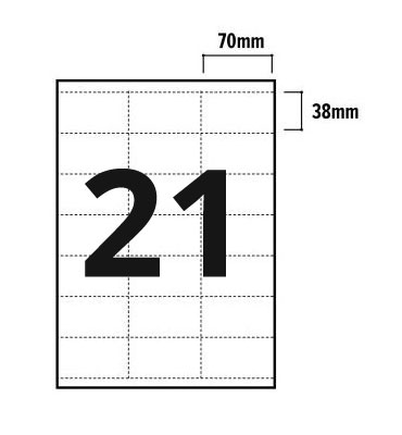 21 Per Sheet A4 Labels -  Square Corners  - 3