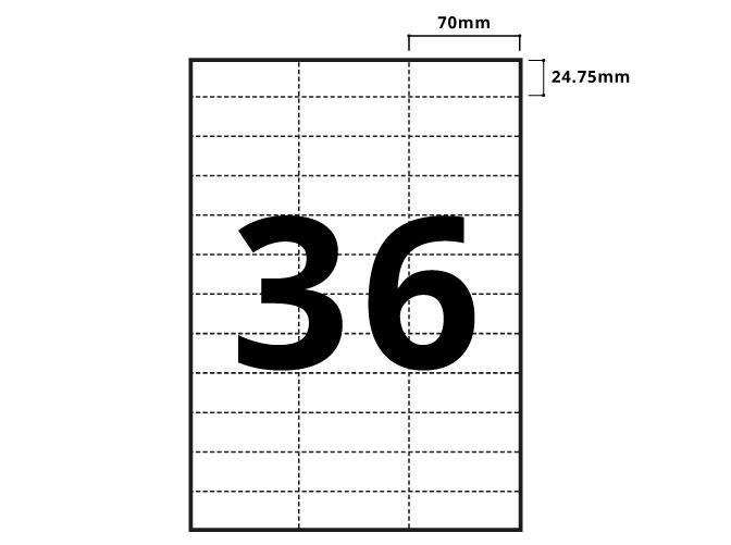 36 Per Sheet A4 Labels - Square Corners - 2