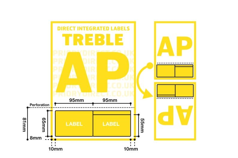 A4 Treble Integrated Label With Perforation - Style AP