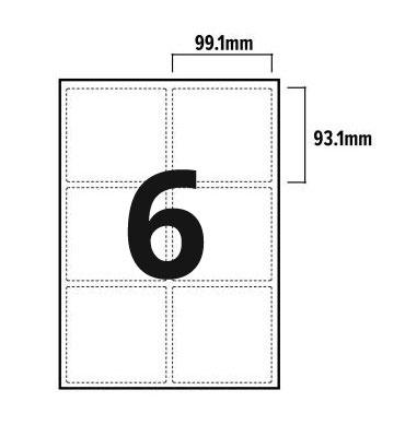 6 Per Sheet A4 Labels - Round Corners - 2