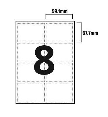 8 Per Sheet A4 Labels - Round Corners - 2