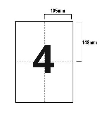 4 Per Sheet A4 Labels - Square Corners - 2