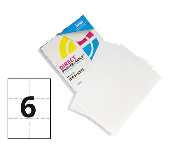 6 Per Sheet A4 Labels - Square Corners