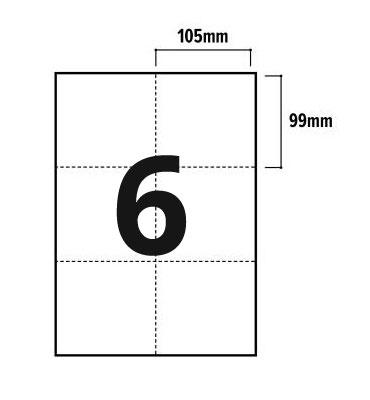 6 Per Sheet A4 Labels - Square Corners - 2