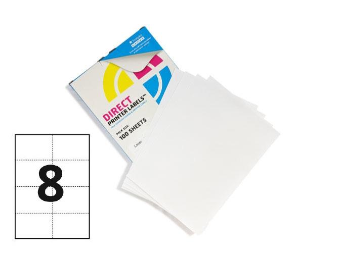 8 Per Sheet A4 Labels - Square Corners