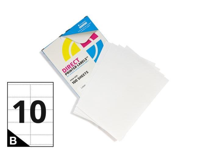 10 Per Sheet A4 Labels - Square Corners