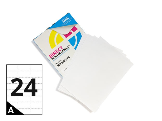 24 Per Sheet A4 Labels - Square Corners