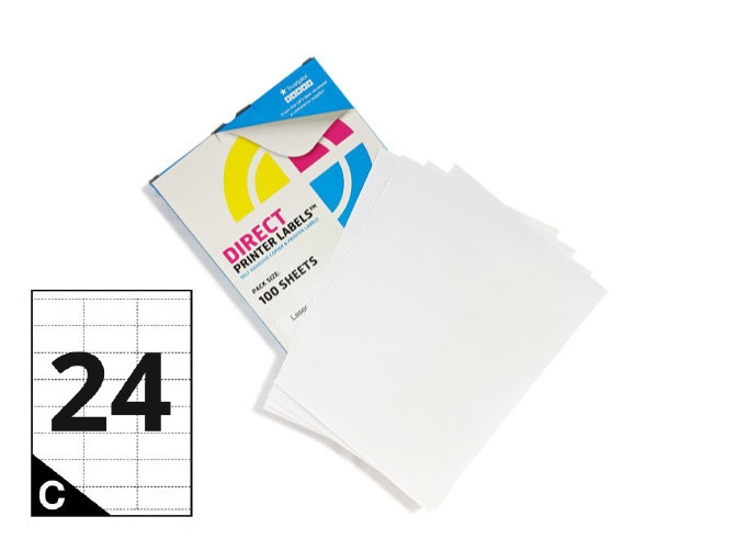 24 Per Sheet A4 Printer Labels - Square Corners