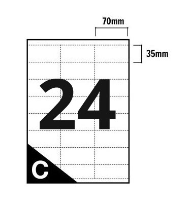 24 Per Sheet A4 Printer Labels - Square Corners - 3