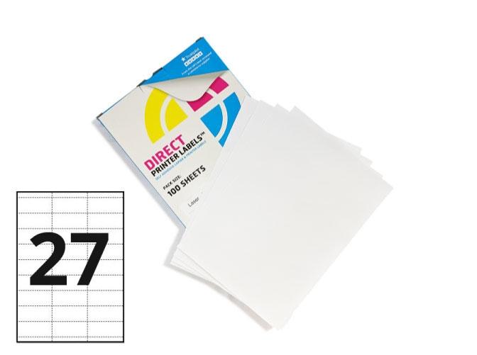 27 Per Sheet A4 Labels - Square Corners