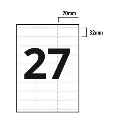 27 Per Sheet A4 Labels - Square Corners - 2