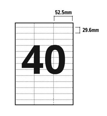 40 Per Sheet A4 Labels - Square Corners - 3