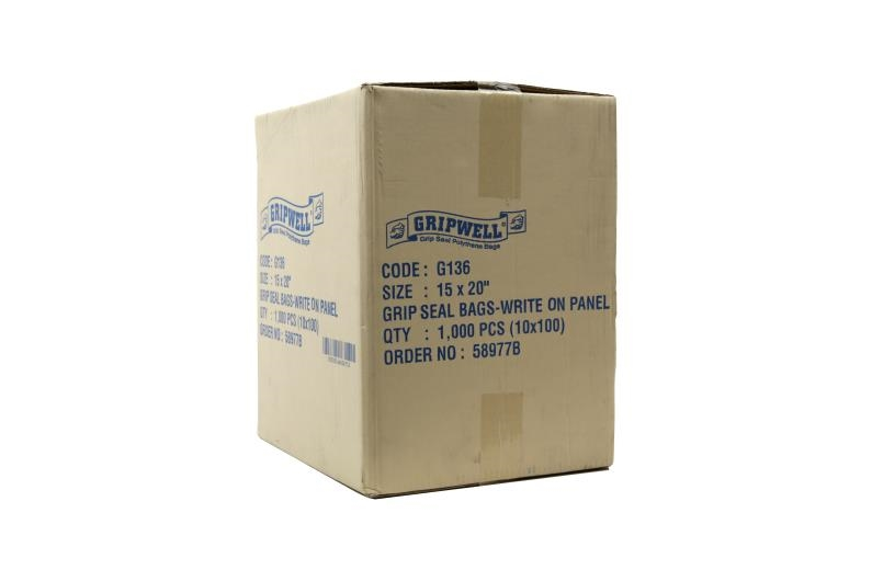 Polythene Grip Seal Bags with Write On Panels - Clear - 375x500mm - 2