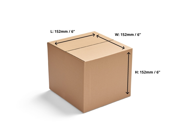 152 x 152 x 152mm Single Wall Cardboard Boxes