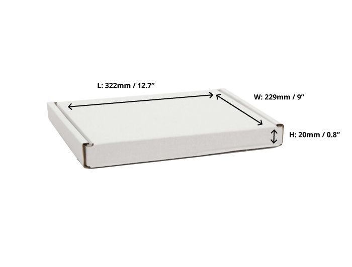322 x 229 x 20mm White PIP Boxes
