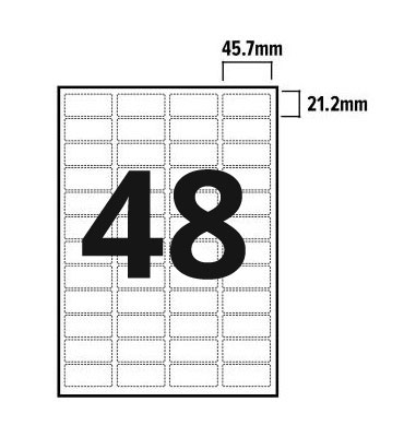 48 Per Sheet A4 Labels - Round Corners - 2