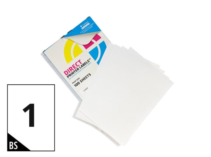 1 Per Sheet A4 Labels - Easy Peel - Square Corners