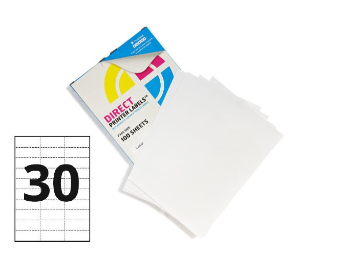 30 Per Sheet A4 Labels - Square Corners
