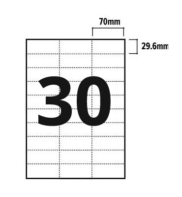 30 Per Sheet A4 Labels - Square Corners - 2