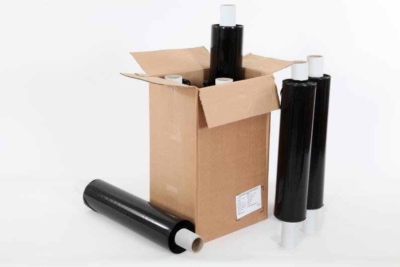 500mm x 200m x 25mu Extended Core Pallet Wrap - Black - 2