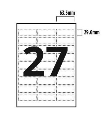 27 Per Sheet A4 Labels - Round Corners - 3