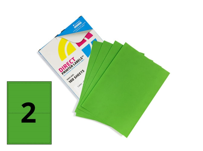 2 Per Sheet Pastel Green Labels