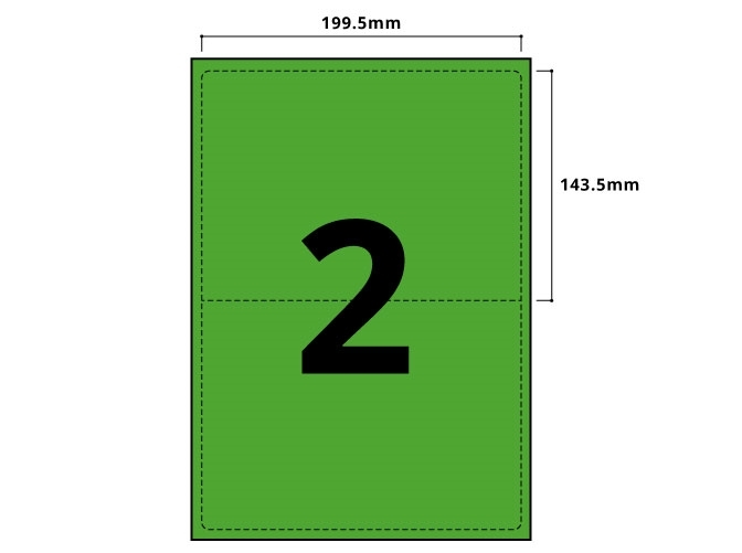 2 Per Sheet Pastel Green Labels  - 2