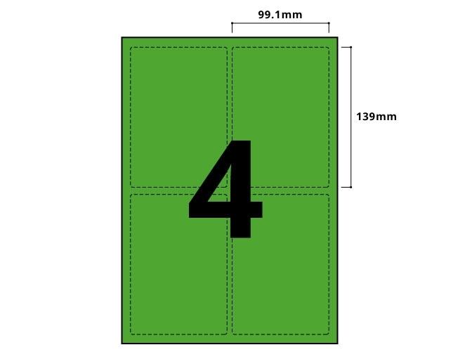 4 Per Sheet Pastel Green Labels  - 2