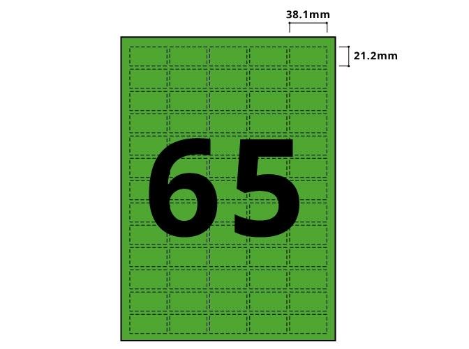 65 Per Sheet Pastel Green Labels  - 3