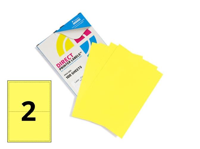 2 Per Sheet Pastel Yellow Labels