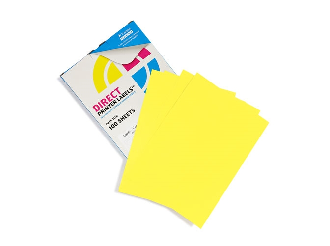 2 Per Sheet Pastel Yellow Labels  - 2