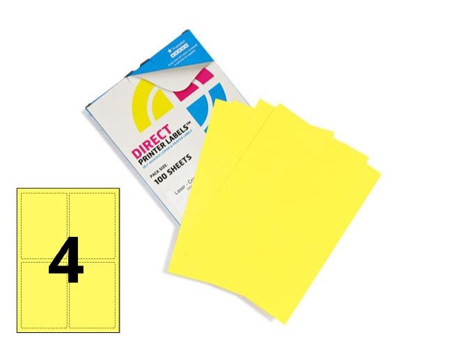 4 Per Sheet Pastel Yellow Labels