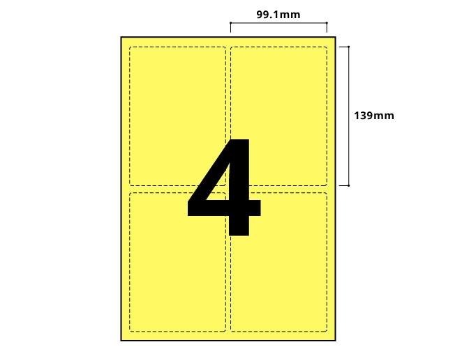 4 Per Sheet Pastel Yellow Labels  - 2