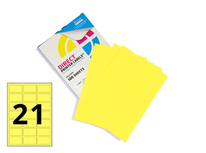 21 Per Sheet Pastel Yellow Labels