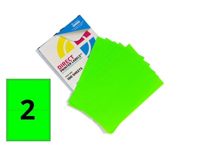 2 Per Sheet Fluorescent Green Labels