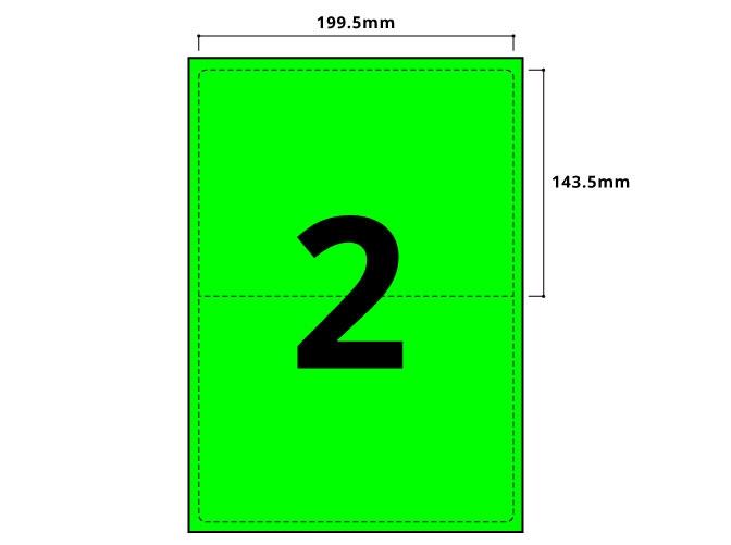 2 Per Sheet Fluorescent Green Labels  - 2