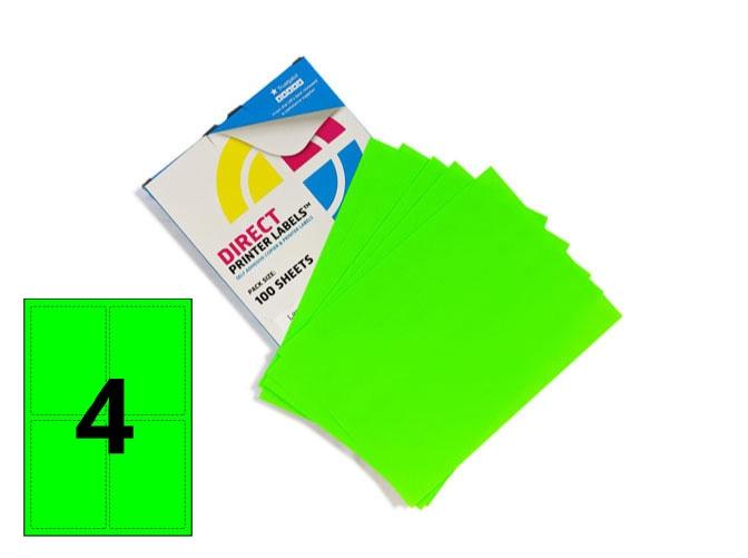 4 Per Sheet Fluorescent Green Labels