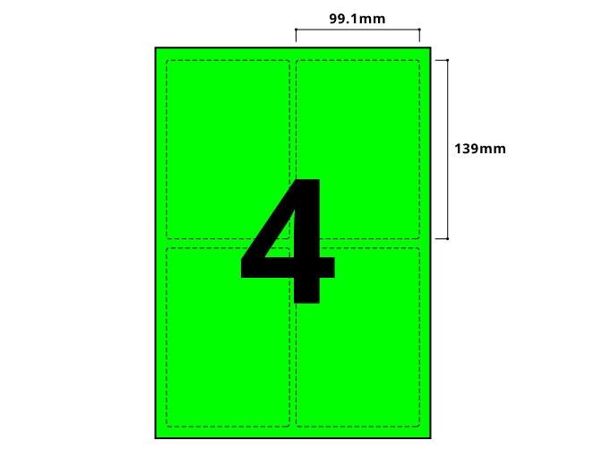 4 Per Sheet Fluorescent Green Labels - 2