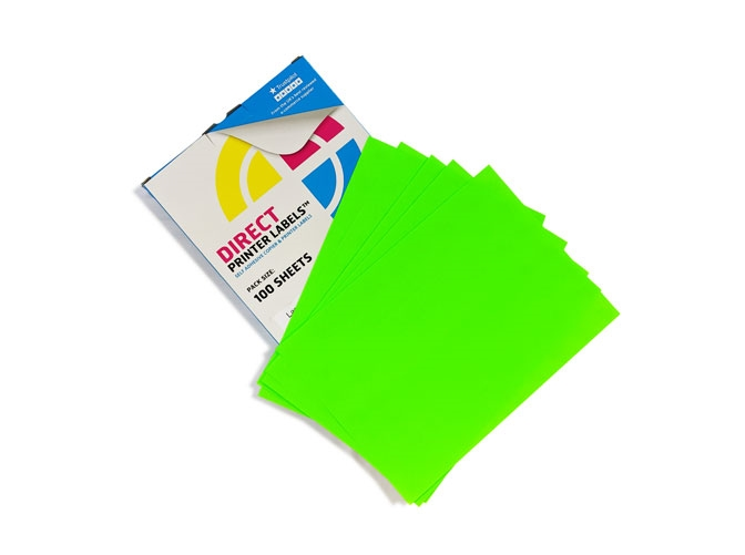 21 Per Sheet Fluorescent Green Labels  - 2