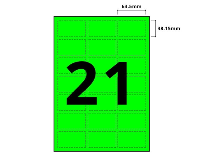 21 Per Sheet Fluorescent Green Labels  - 3