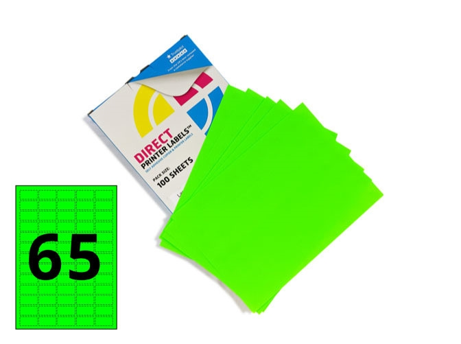 65 Per Sheet Fluorescent Green Labels