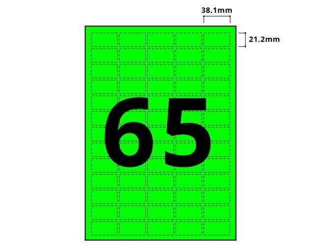 65 Per Sheet Fluorescent Green Labels  - 2