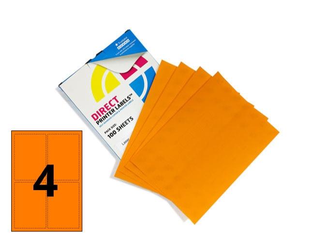 4 Per Sheet Fluorescent Orange Labels